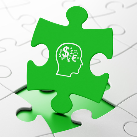 Education concept: Head With Finance Symbol on Green puzzle pieces , 3d render photo