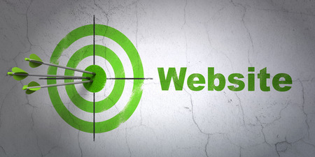 Success web design concept: arrows hitting the center of target, Green Website on wall , 3d render photo