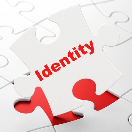 Privacy concept: Identity on White puzzle pieces , 3d render photo