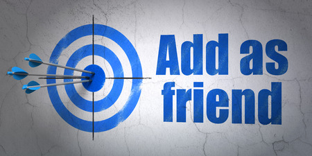 add as friend: Success social network concept: arrows hitting the center of target, Blue Add as Friend on wall , 3d render