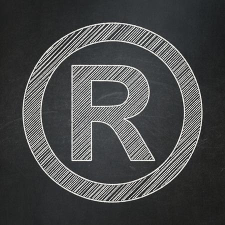 r regulation: Law concept: Registered icon on Black chalkboard , 3d render Stock Photo