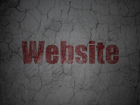 Web development concept: Red Website on grunge textured concrete wall background, 3d render photo