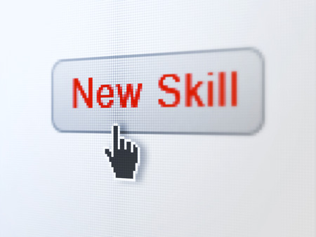 Education concept: pixelated words New Skills on button with Hand cursor on digital computer screen background, selected focus 3d render photo
