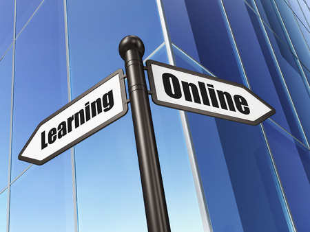 Education concept: sign Online Learning on Building background, 3d render photo