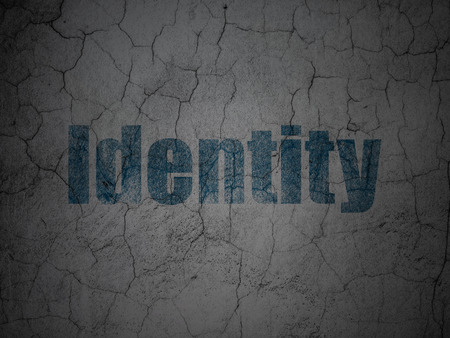 identity protection: Protection concept: Blue Identity on grunge textured concrete wall , 3d render Stock Photo