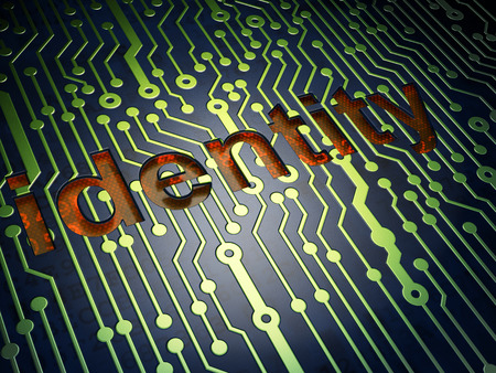 Protection concept: circuit board with word Identity, 3d render photo