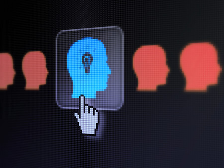 Business concept: pixelated Head With Lightbulb icon on button with Hand cursor on digital computer screen, selected focus 3d render photo