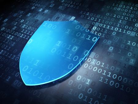 Privacy concept: Blue Shield on digital background, 3d render
