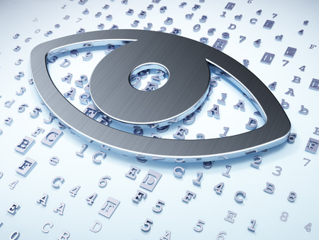 Security concept: Silver Eye on digital background, 3d render photo