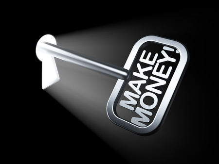 Business concept: Make Money! on key in keyhole, 3d render photo