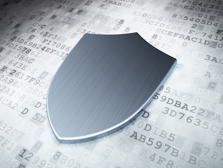 Security concept: Silver Shield on digital background, 3d render Stock Photo