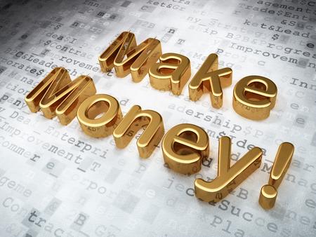 buisnes: Business concept: Golden Make Money! on digital background, 3d render