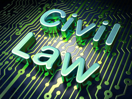 data protection act: Law concept: circuit board with word Civil Law, 3d render Stock Photo