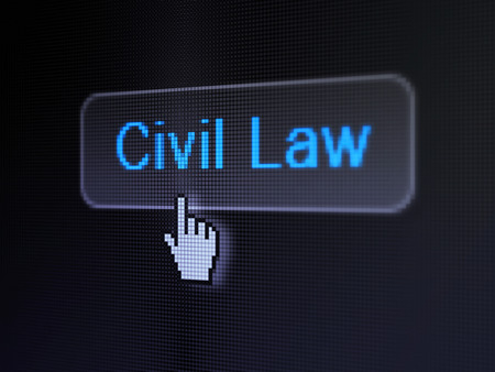 Law concept: pixelated words Civil Law on button with Hand cursor on digital computer screen background, selected focus 3d render