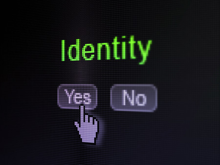Security concept: buttons yes and no with pixelated word Identity and Hand cursor on digital computer screen, selected focus 3d render photo
