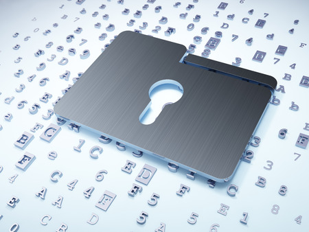 Finance concept: Silver Folder With Keyhole on digital background, 3d render photo