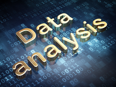 Data concept: Golden Data Analysis on digital background, 3d render photo