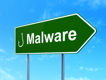 Security concept: Malware and Fishing Hook icon on green road (highway) sign, clear blue sky background, 3d render Stock Photo - 25740568