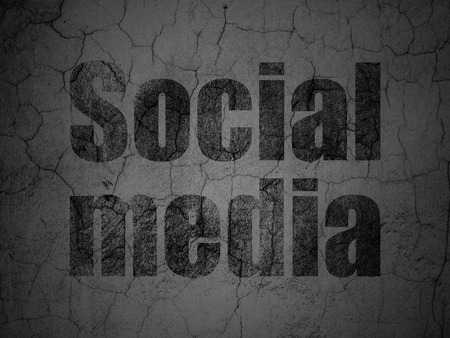 Social network concept: Black Social Media on grunge textured concrete wall background, 3d render photo