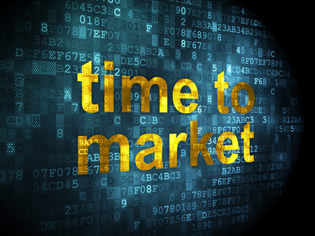 Time concept: pixelated words Time to Market on digital background, 3d render photo