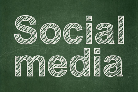 Social media concept: text Social Media on Green chalkboard background, 3d render photo