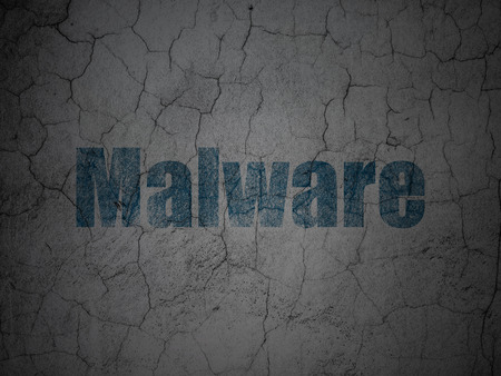Security concept: Blue Malware on grunge textured concrete wall background, 3d render photo