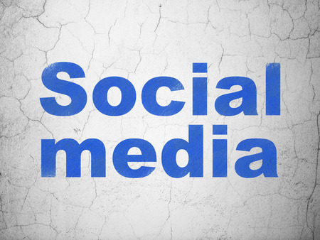 microblog: Social network concept: Blue Social Media on textured concrete wall background, 3d render