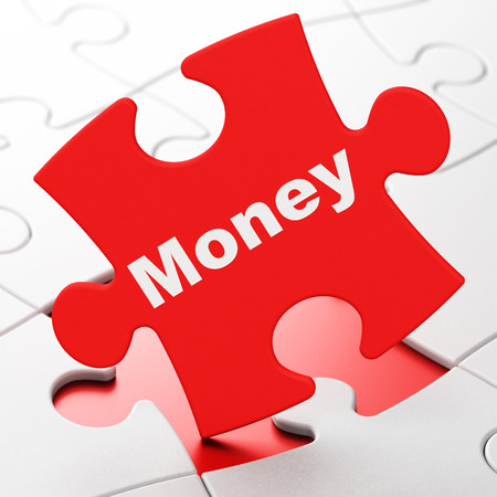 brainteaser: Business concept: Money on Red puzzle pieces background, 3d render