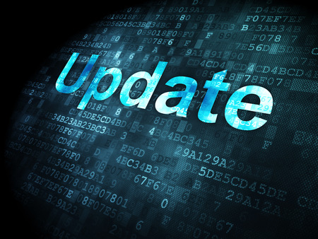 computer software: SEO web development concept: pixelated words Update on digital background, 3d render