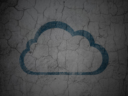 Cloud networking concept: Blue Cloud on grunge textured concrete wall background, 3d render photo