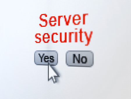 Security concept: buttons yes and no with pixelated word Server Security and Arrow cursor on digital computer screen, selected focus 3d render photo