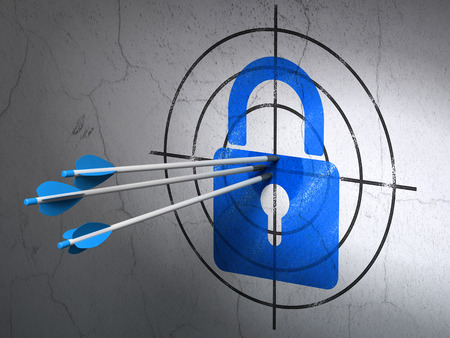 Success Information concept: arrows hitting the center of Blue Closed Padlock target on wall background, 3d render photo