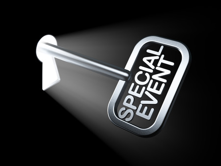 Business concept: Special Event on key in keyhole, 3d render photo