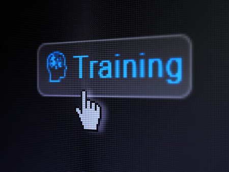 Education concept: pixelated words Training and Head With Finance Symbol icon on button withHand cursor on digital computer screen background, selected focus 3d render photo