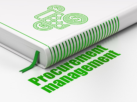 Finance concept: closed book with Green Calculator icon and text Procurement Management on floor, white background, 3d render photo