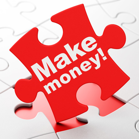 Finance concept: Make Money! on Red puzzle pieces background, 3d render photo