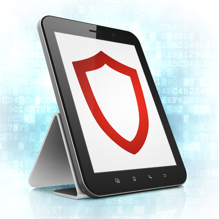 Protection concept: black tablet pc computer with Contoured Shield icon on display. Modern portable touch pad on Blue Digital background, 3d render photo