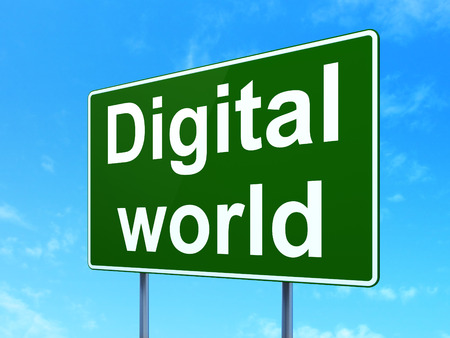 Data concept: Digital World on green road (highway) sign, clear blue sky background, 3d render photo