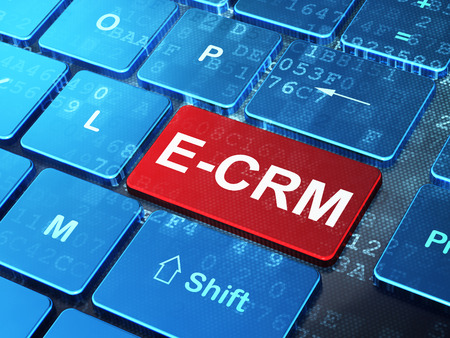 ecrm: Business concept: computer keyboard with word E-CRM on enter button background, 3d render