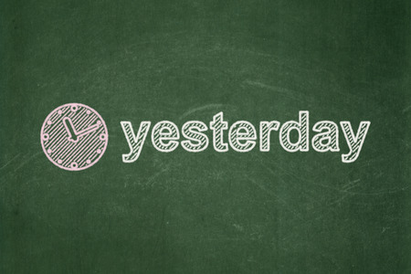 Time concept: Clock icon and text Yesterday on Green chalkboard background, 3d render photo