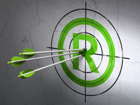 r regulation: Success law concept: arrows hitting the center of Green Registered target on wall background, 3d render