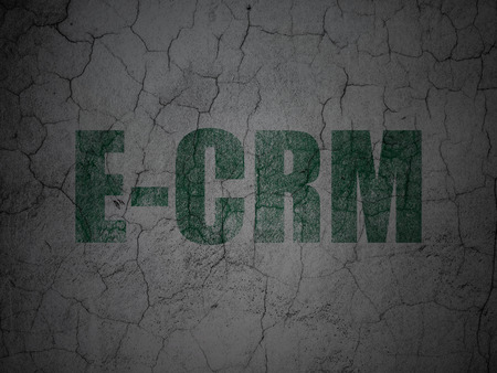 ecrm: Finance concept: Green E-CRM on grunge textured concrete wall background, 3d render Stock Photo