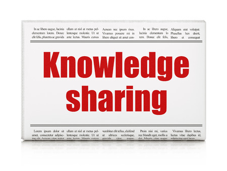 Education concept: newspaper headline Knowledge Sharing on White background, 3d render photo