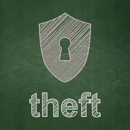 Safety concept: Shield With Keyhole icon and text Theft on Green chalkboard background, 3d render photo
