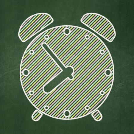 Timeline concept: Alarm Clock icon on Green chalkboard background, 3d render photo