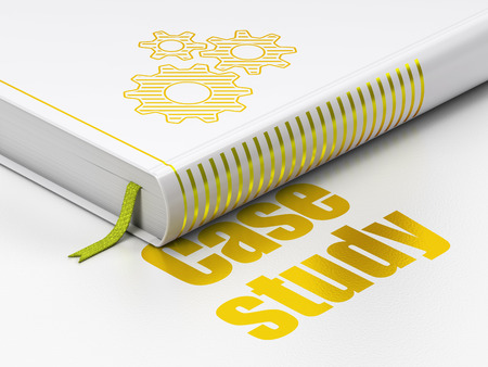 closed ribbon: Education concept: closed book with Gold Gears icon and text Case Study on floor, white background, 3d render