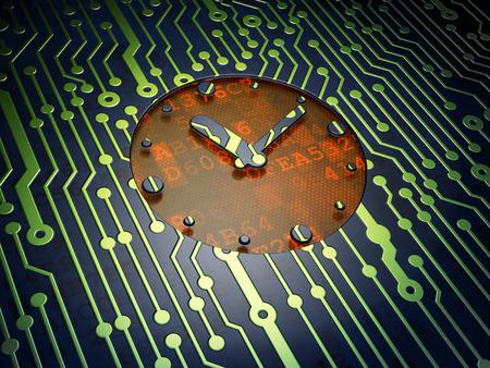 cronologia: Concepto de tiempo: Tarjeta de circuitos con el icono de reloj, 3d Foto de archivo