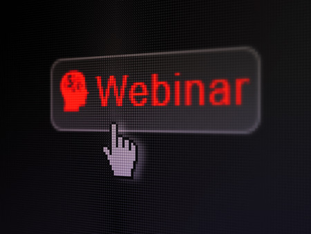 Education concept: pixelated words Webinar and Head With Finance Symbol icon on button withHand cursor on digital computer screen background, selected focus 3d render photo