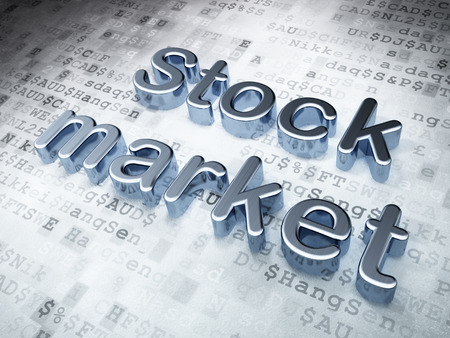 Business concept: Silver Stock Market on digital background, 3d render photo