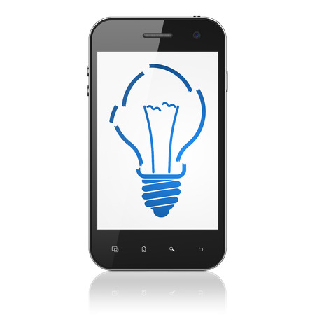 Business concept: smartphone with Light Bulb icon on display. Mobile smart phone on White background, cell phone 3d render photo